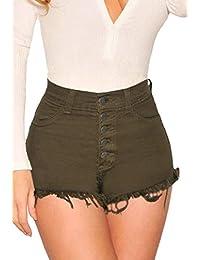 Cromoncent Las Mujeres de Cintura Alta Corte Slim fit botón de Bolsillo Mini Shorts de Mezclilla