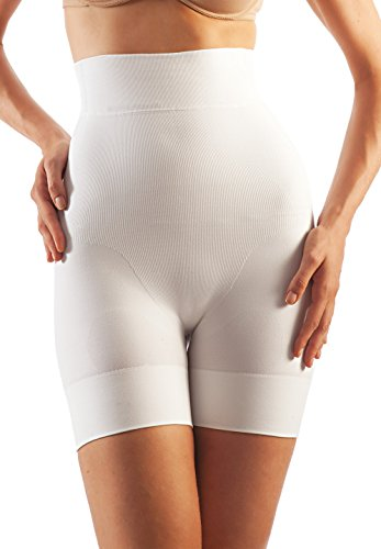 White Girdle - FarmaCell Shape 602 (White, XL) Women's high-Waisted Shaping Control mid-Thigh Shorts with Flat Belly Effect