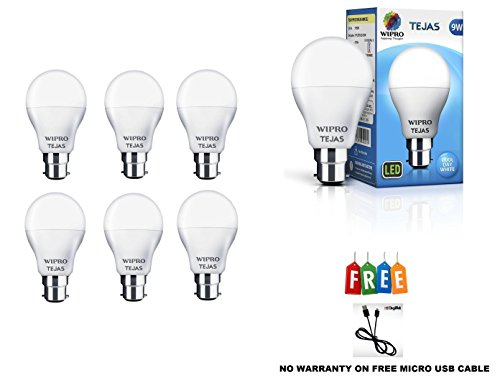 Wipro Tejas 9W LED Bulb Cool Day Light with One DIGITEK Micro USB Cable – Pack of 6 (White)