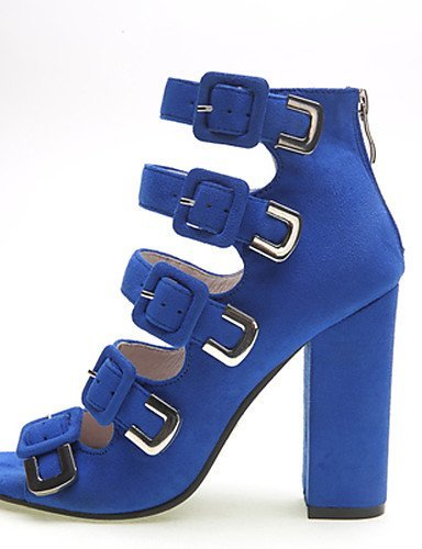 ShangYi Womens Shoes Leather Chunky Heel Heels / Peep Toe Sandals Party & Evening / Dress / Casual Black / Blue / almond
