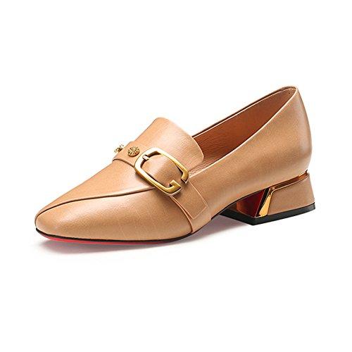 LIANGJUN Talons Bas Chaussures Femmes Escarpins Bottines Mode, 2 Couleurs Disponibles, 6 Tailles (Couleur : Noir, taille : EU38=UK5.5=L:240mm) Beige