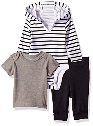 Hanes Ultimate Baby Flexy Knit Jogger with Hoodie and Short Sleeve Crew Set, Black Stripe, 0-6 Months ()