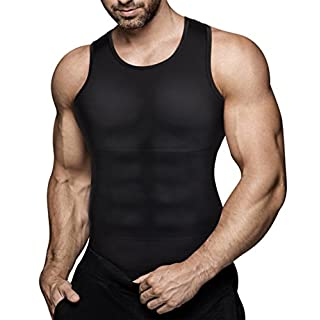 Mens Compression Shirt Slimming Body Shaper Vest Workout Tank Tops Abs Abdomen Undershirts(Black, L)