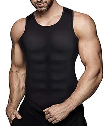 Eleady Mens Compression Shirt Slimming Body Shaper Vest Workout Tank Tops Abs Abdomen Undershirts (Black Sport Vest, S)