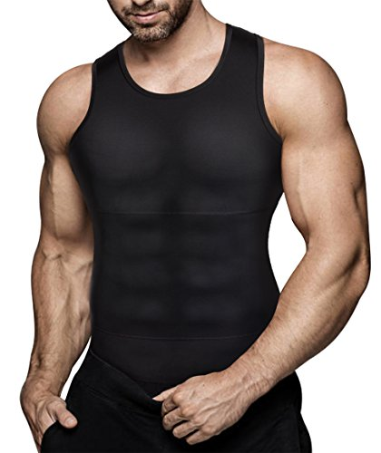 Mens Compression Shirt Slimming Body Shaper Vest Workout Tank Tops Abs Abdomen Undershirts(Black, XXXXL)