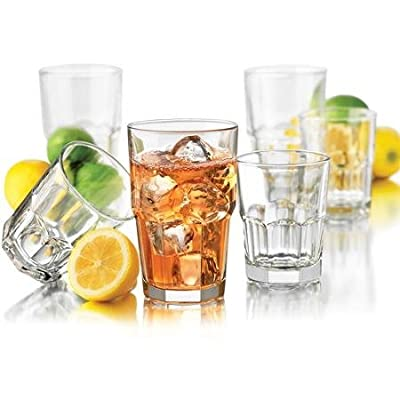 Libbey 16-Piece Boston Drinkware Set, 16 oz glass coolers,9.8 oz glass DOFs (1)