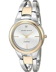 Anne Klein Womens AK/2629SVTT Diamond-Accented Dial Two-Tone Open Bangle Watch