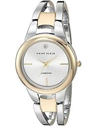 Women's AK/2629SVTT Diamond-Accented Dial Two-Tone Open Bangle Watch