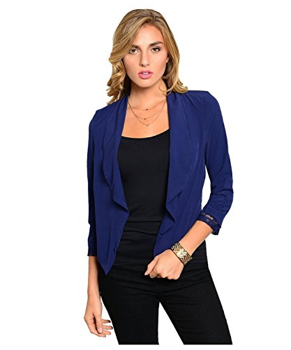 G2 Chic Women's Open Front 3/4 Sleeve Blazer Jacket(OW-BLZ,DBLA1-S)