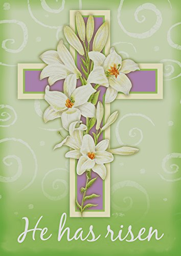 Toland Home Garden Easter Cross 28 x 40 Inch Decorative Pastel Lily Flower He Has Risen House ()