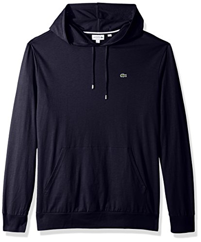 Lacoste Men's Long Sleeve Hooded Jersey Cotton T-Shirt Hoodie, Navy Blue, XL (Navy Blue Polo Hoodie)
