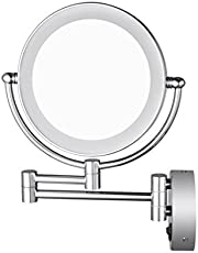 AECHOO Bathroom Mirror Shaving Mirrors Make Up Wall Mounted LED Illuminated Mirror 10X Magnifying Concealed Install Simply and Luxury Decorate for Hotel Vanity Two Swivel Surface with Chrome Finished