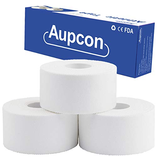 AUPCON White Athletic Tape Climbers Tape Sports Boxing Tape Muscle Support First Aid Injury Tape for Ankle Knees Wrist Toes Joints Breathable Water Resistant Latex Free Cotton 1.5in*5 Yards 3 Rolls
