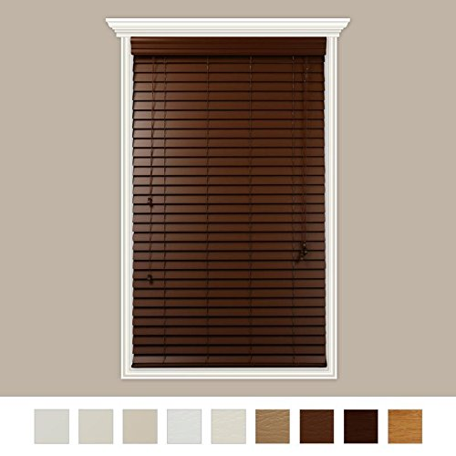 Custom-Made 2″ Faux Wood Horizontal Blinds With Easy Inside Mount -34″ x 48″Cherry Embossed – By Luxr Blinds