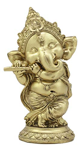Ebros Hindu Elephant God Ritual Dancing Ganesha Golden Statue 6