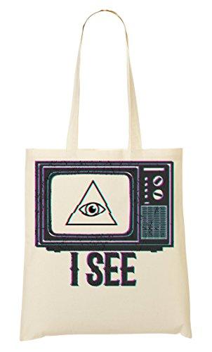 ShutUp I Television Eye Popular Phrases Illuminati Old Fashioned Bolso De Mano Bolsa De La Compra