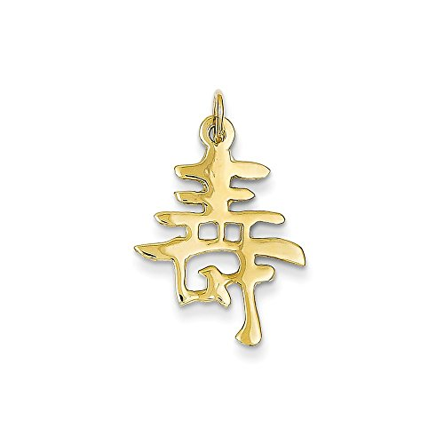 - 14K Yellow Gold Chinese Long Life Symbol Charm 26x22mm