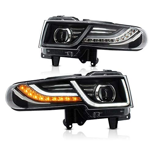 MICROPOWER Led Headlights for Toyota FJ Cruiser 2007-2014 Headlamps Assembly Dual Beams Halo Projectors with Sequential Turn Signals and DRL Bars with Grille Insert YAA-FJ-0249AH
