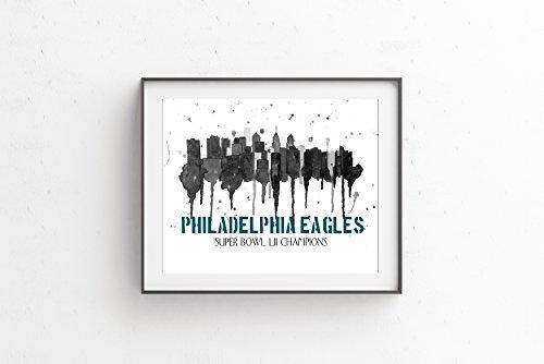Super Bowl LII Champions Philadelphia Eagles Philadelphia Skyline Art Giclee Fine Art Print 8x10 11x14 or16x20 On Archival Paper by Artist Amber McDowell