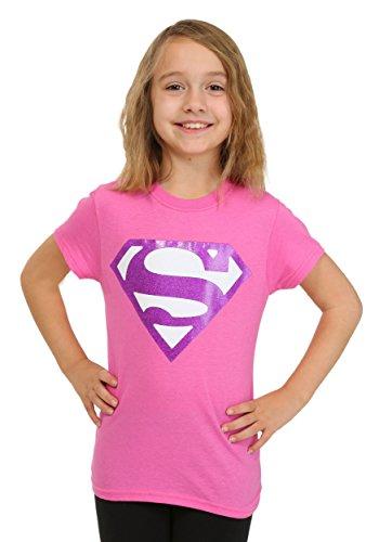 Bioworld Merchandising / Independent Sales girls Girls Pink Glitter Superman Logo T-Shirt Medium