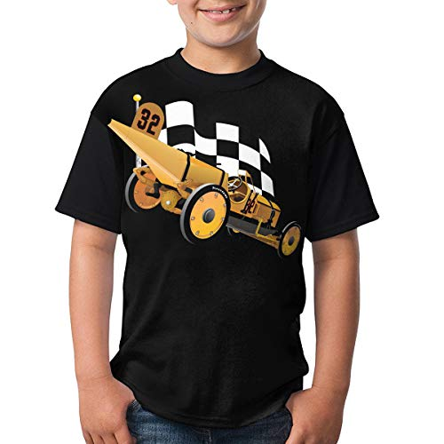 (TGDBS1 Marmon Wasp with Checkered Flag Kids' Boys' Short Sleeve 3D Printed T-Shirts/Tee Shirt Gifts Black)