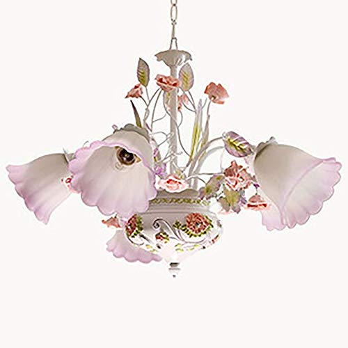 American Rural Style Flower Chandelier Width 28 Inches Height 18 Inches Iron Frame Living Room Glass Lampshade Hanging Ceiling Lamp with 5 LED Light