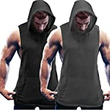 COOFANDY Men's 2 Pack Workout Hooded Tank Tops