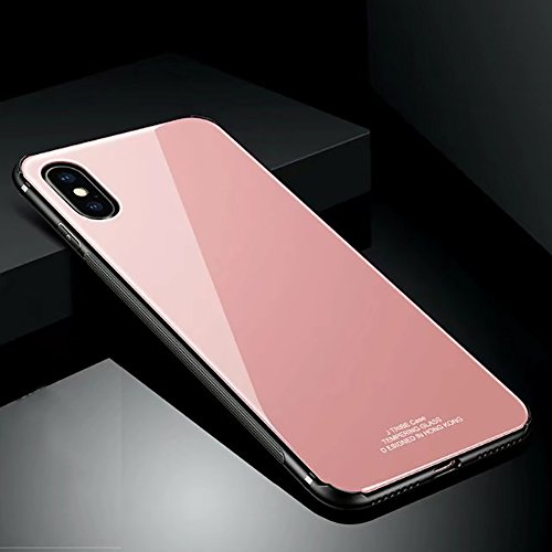 Price comparison product image Hard Rigid Tempered Glass Back Cover for iPhone X, Aearl Pure Color Crystal Clear Rear Back Glass Plastic Interior Dual Layer Anti Slip TPU Silicone Bumper Case Screen Protector for iPhone X -Pink