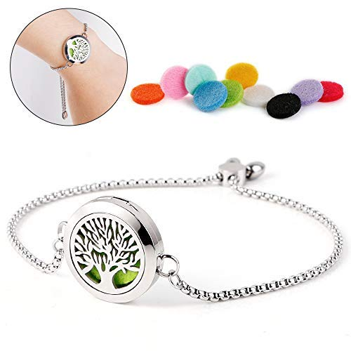 Maromalife Adjustable Diffuser Bracelet Locket Slide Healing Bracelet Stainless Steel Tree of Life Locket + 10 Colors Felt Pads ()
