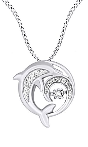 - AFFY Dancing Natural Diamond Dolphin Pendant Necklace in 14k White Gold Over Sterling Silver (0.1 Ct)