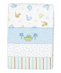 SpaSilk Baby Boy 4 Pack 100% Cotton Flannel Receiving Blanket, Blue, One Size