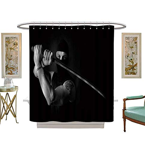 Miki Da Shower Curtains Waterproof Portrait of Muscle Man Ninja Holding a Sword Katana Studio Portrait on Black bacground Fabric Bathroom Decor Set with Hooks Size:W54 x L84 inch