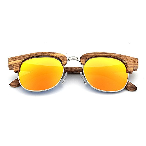 para madera gafas para a y UV400 Adecuado aire De Personalidad de uso protección al hechas lente estilo mano fines Zebra sol semi diario adulto sin de múltiples cebra rebordear Naranja libre coloreada unisex qfvY1