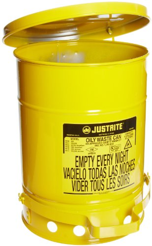 Justrite 09301 10 Gallon, Galvanized-Steel Yellow Safety Cans for Oily Waste ()