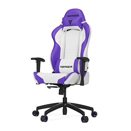 Vertagear SL2000_WP S-Line 2000 Racing Series Gaming Chair, Large, White/Purple - 2000 Series Chair