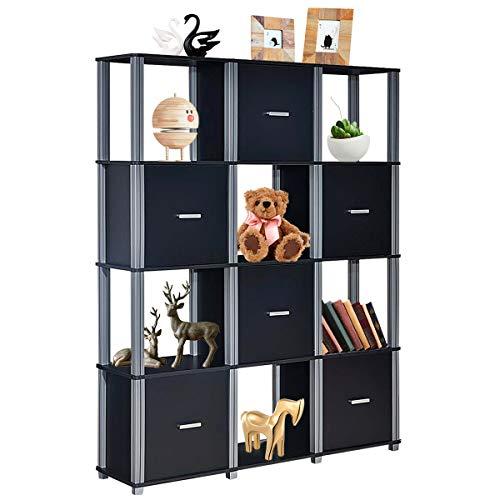 - Tangkula Storage Shelf 4-Tier Utility Shelf Multifunctional Storage Cabinet Organizer Rack Display Stand Bookcase Bookshelf (Black)