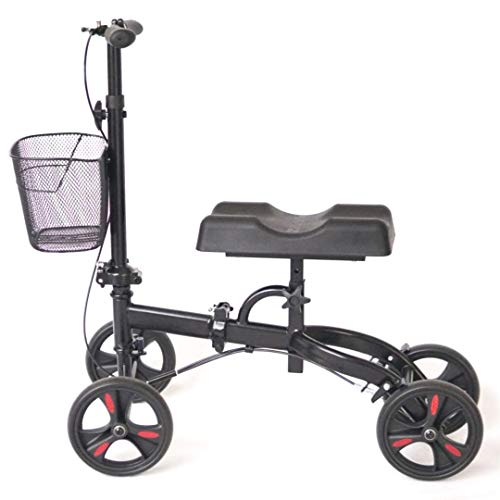 Healthport Knee Scooter for Foot Injuries | Steerable Medical Knees Walker | Post Surgery Mobility | Lightweight, Folding, Braking System with Single Hand Lever | Rolling Wheels for Indoors & Outdoors