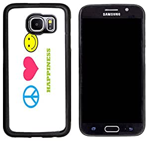Rikki KnightTM peace love happiness Design Samsung? Galaxy S6 Case Cover (Black Rubber with front Bumper Protection) for Samsung Galaxy S6