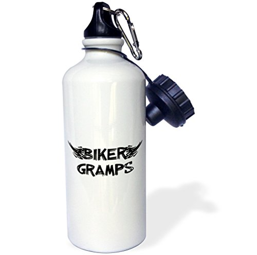 InspirationzStore Typography - Biker Gramps. Grunge word art with black and white flames Funny old motorbike grandfather motorcycle - 21 oz Sports Water Bottle (wb_162544_1)