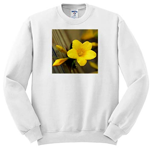 3dRose Stamp City - Flowers - A Macro Photograph of a Yellow Carolina Jasmine Blossom. - Adult Sweatshirt 3XL (ss_309926_6)