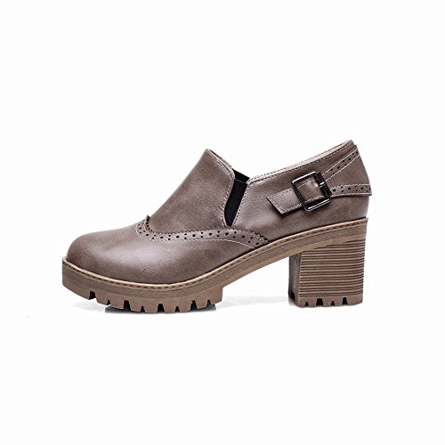 Mid Elastic Heel Carolbar Shoes Buckle Concise Loafer Women's Grey Retro qwIHC