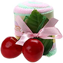 Blue Zones Favor Roll Cotton Cake Towel Swiss with Two Cherry Top Decor Party Wedding
