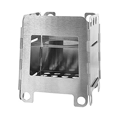 Amazon.com : GemCoo Camping Stove Portable Stainless Steel Folding Wood Stove Pocket Stove for Outdoor Camping Cooking Picnic : Sports & Outdoors