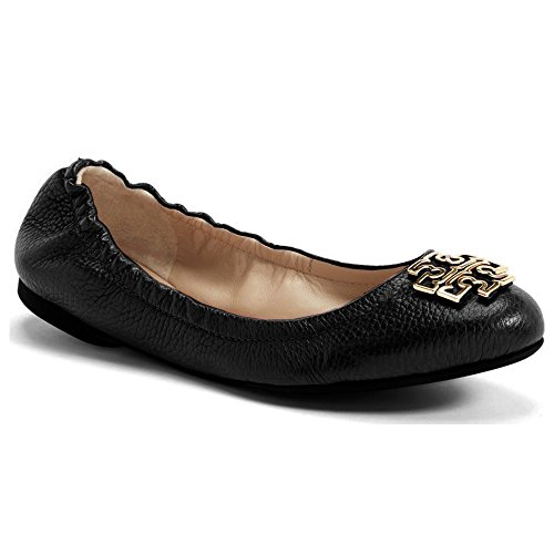(Tory Burch Melinda Ballet Flat Shoes Leather Powder Coated Logo (8, Black))