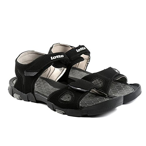 f9ee92f032c5 Lotto Rubber and Linen Men s Hiker Black and Grey Sandals-6  Buy Online at Low  Prices in India - Amazon.in