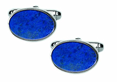David Van Hagen Mens Lapis Lazuli Sterling Silver Oval Cufflinks - Blue/SIlver