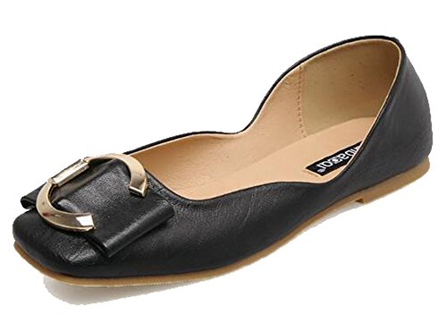 Black Slip Flat Top Trendy Womens Shoes Low Square Buckles On Toe Easemax HgAxPwF