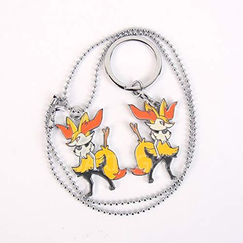 nagao firefox necklace pendant chain fox tail flame single ear ornaments (combination ()