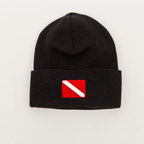 Diver Hat (Trident Knit Beanie with Embroidered Diver Down Flag)