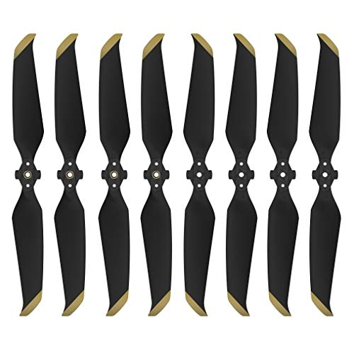 Mavic Air 2 Propellers Replacement, IRCtek 8Pcs 7238F Low-Noise Quick-Release Propellers Compatible with DJI Mavic Air 2 Drone (Black, Golden Tip)